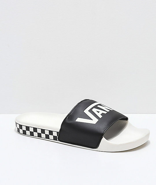 b9b011fddd933 Vans Black & Marshmallow Checkerboard Side Slide Sandals | Zumiez