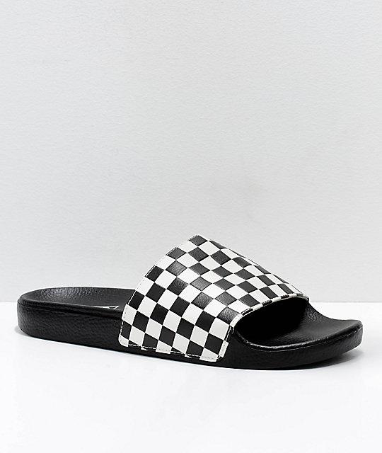 38b22583fec6 Vans Black & White Checkerboard Slide On Sandals | Zumiez