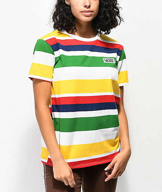 de4932da91dd6a Vans Boyfriend Rainbow Stripe T-Shirt