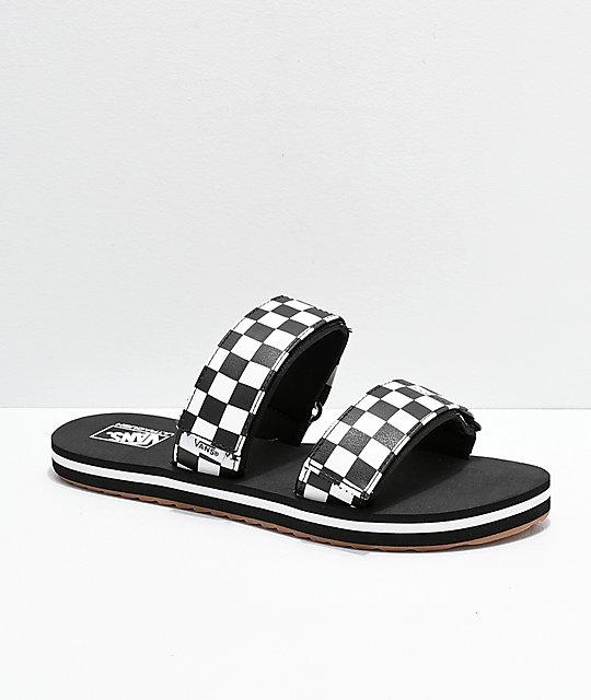 595bb8a32a55 Vans Cayucas Checkerboard 2 Strap Slide Sandals | Zumiez