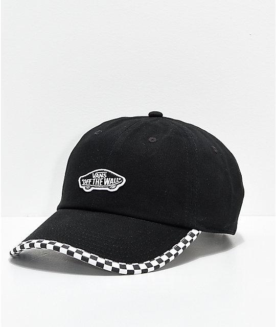 622af9f2680a Vans Check It Black & Checkerboard Strapback Hat   Zumiez