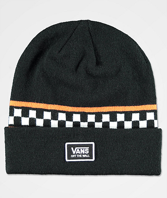 0cbf87007a38dd Vans Checker Black & Orange Beanie | Zumiez