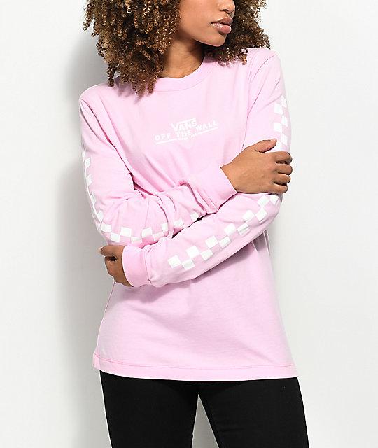 04e6cd06316848 Vans Checker OTW Pink Long Sleeve T-Shirt   Zumiez