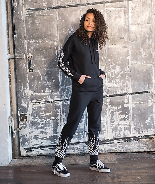 91678e35eb Vans Checkerboard Flame Black Sweatpants