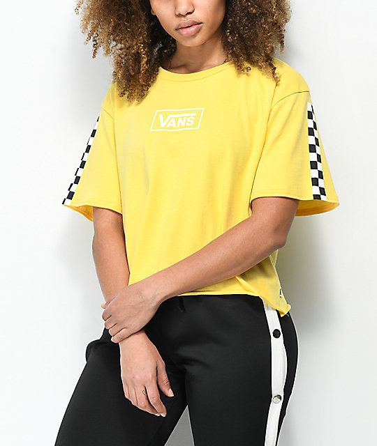 42a221b792e34 Vans Checkerboard Yellow Crop T-Shirt