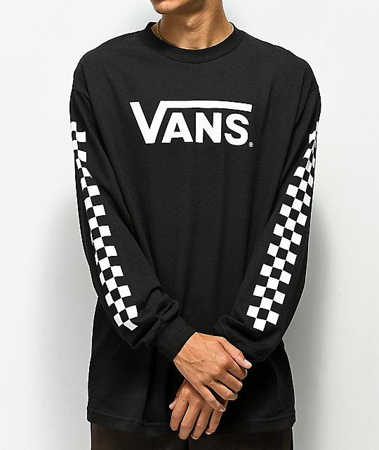 8f46d3ff6cee Vans Classic Checkerboard Black Long Sleeve T-Shirt | Zumiez