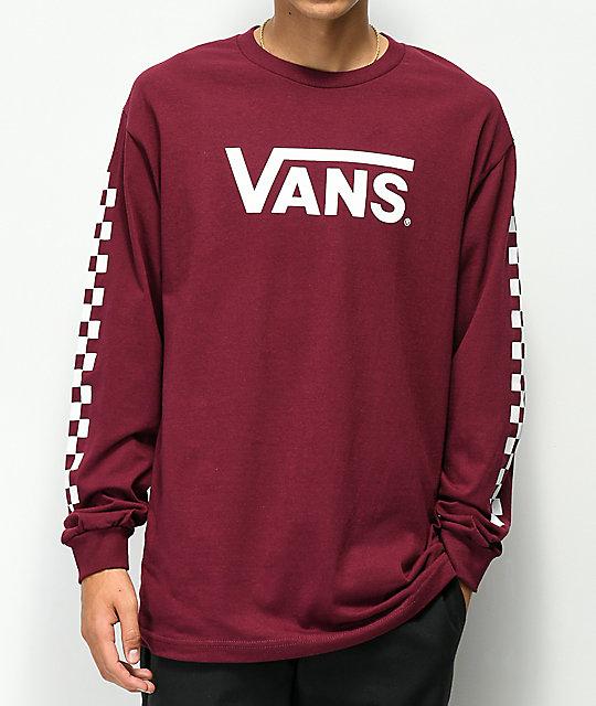 3f869bec2958 Vans Classic Checkerboard Burgundy Long Sleeve T-Shirt | Zumiez