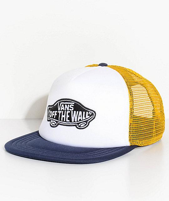 d588098b6976b Vans Classic Patch Blue, White & Yellow Trucker Hat | Zumiez