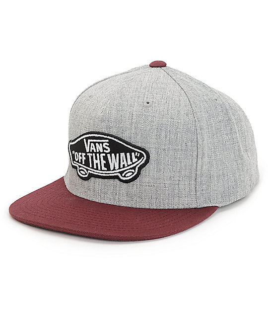 55a67f216 Vans Classic Patch Heather Grey & Port Snapback Hat