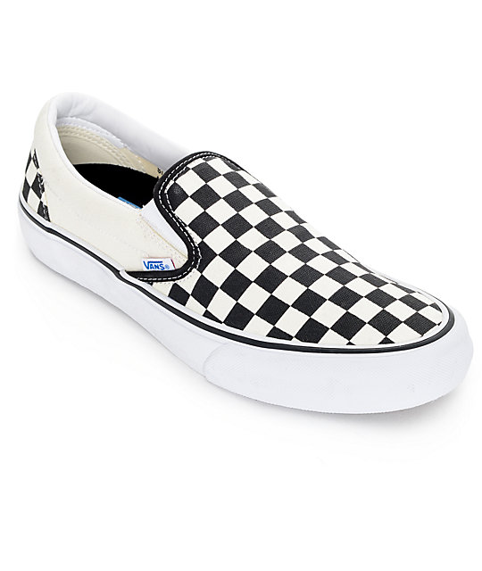 6968196a1bf6 Vans Classic Pro 50th Black and White Checkerboard Slip On Shoes ...