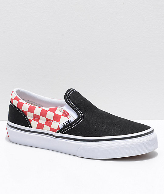 01f4feefa332 Vans Classic Slip On Black & Red Checker Shoes | Zumiez