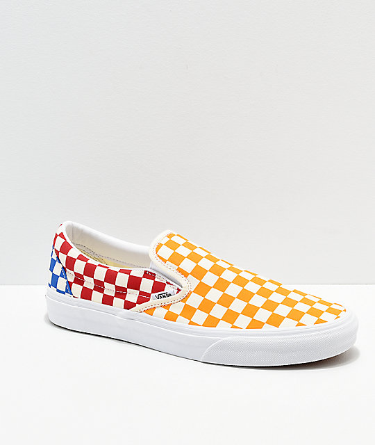 acheter populaire c344a b5d81 Vans Classic Slip On Checkerboard Red, Blue & Yellow Skate Shoes