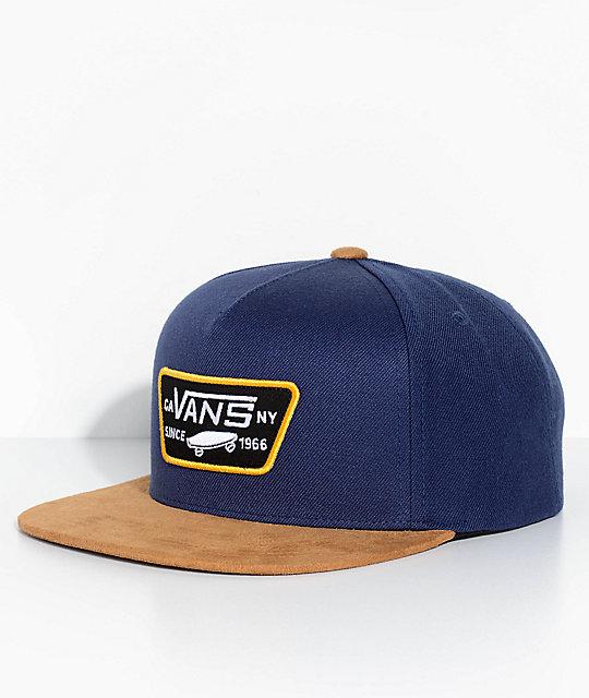 30c80698a96d54 Vans Full Patch Dress Blue & Dark Khaki Snapback Hat   Zumiez