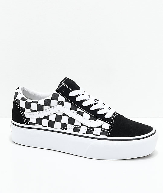 117faa36c32afb Vans Old Skool Black   White Checkered Platform Shoes
