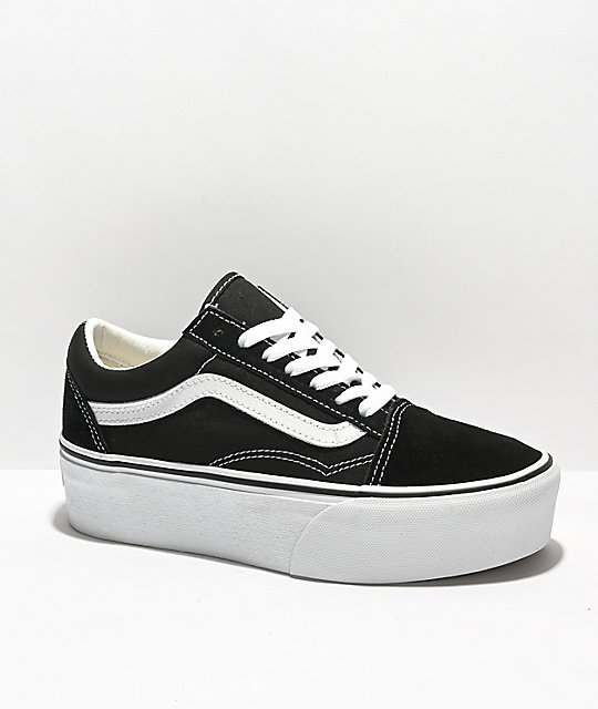 Vans Old Skool Black   White Platform Skate Shoes  3e36b36dba