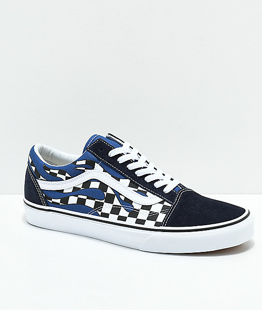 8a090792aed0c Vans Old Skool Checkerboard Flame Navy & White Skate Shoes | Zumiez