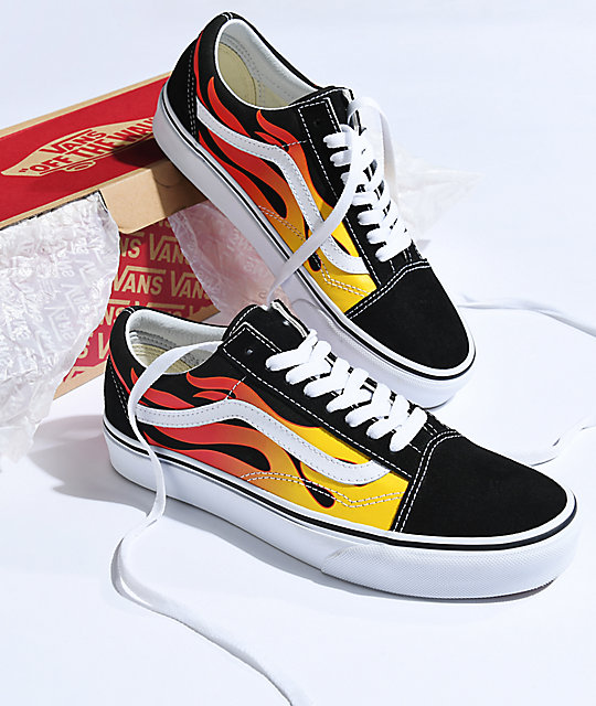 7428827e001a2f Vans Old Skool Flame Black   White Skate Shoes