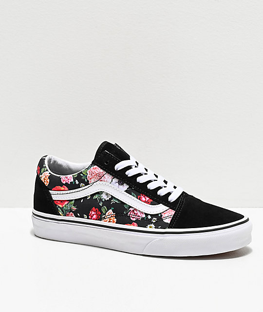 8566fc9597002 Vans Old Skool Garden Floral & Black Skate Shoes