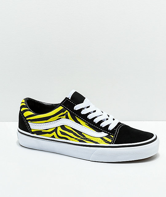 c6fb0de8794d4 Vans Old Skool Green & Black Zebra Print Skate Shoes | Zumiez