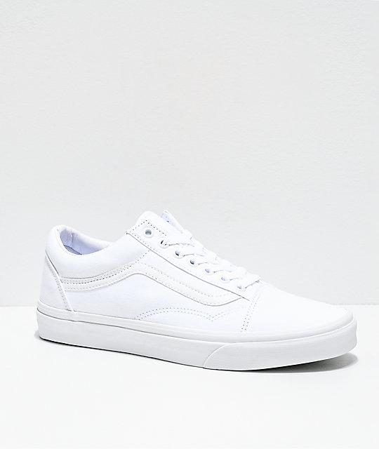4a18625216 Vans Old Skool Mono White Skate Shoes | Zumiez