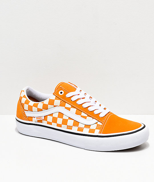 timeless design 311f0 fb1ee Vans Old Skool Pro Cheddar   White Checkerboard Skate Shoes ...