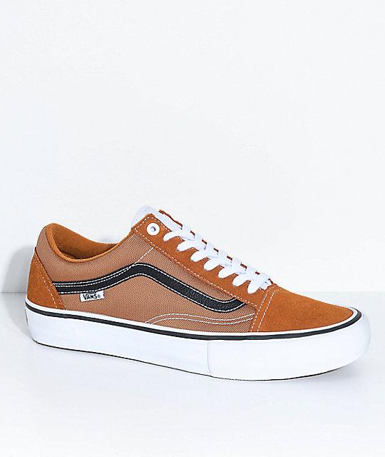 Vans Old Skool Pro Ginger, Black & White Skate Shoes