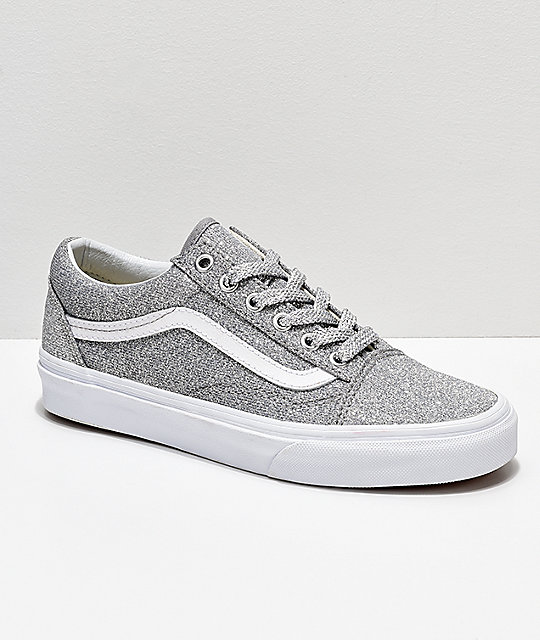 62eb8d1bb0 Vans Old Skool Silver   White Glitter Skate Shoes