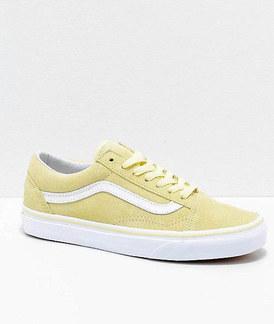 891c4b793f Vans Old Skool Tender Yellow   White Suede Skate Shoes