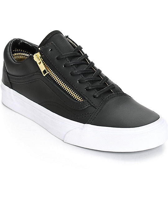 Vans Old Skool Zip Black Leather Shoes  109cbe5e7