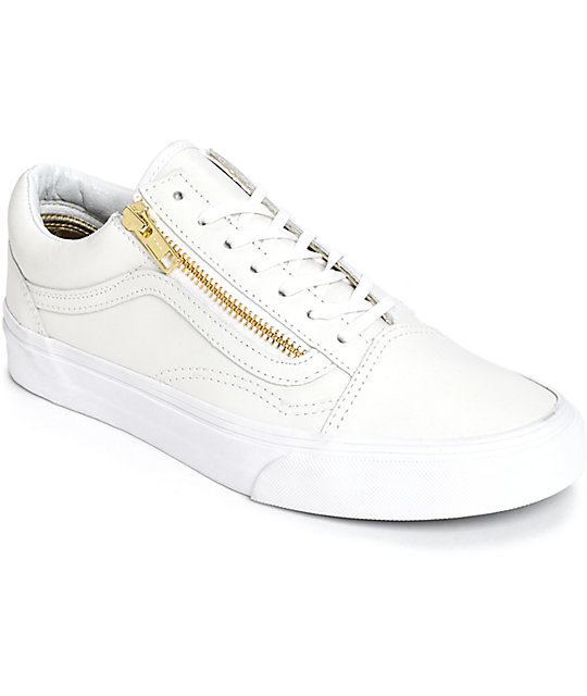 Vans Old Skool Zip White Leather Shoes  b87a4fe3b