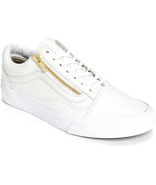 Vans Old Skool zapatos de cuero blanco con cremallera (mujer) ... 8e784ce7b21