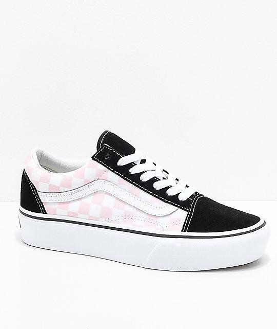 Vans Old Skool zapatos de skate con plataforma en rosa y negro a cuadros ... d33d2dc0736
