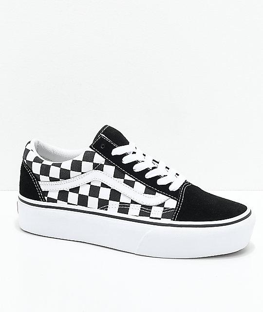Vans Old Skool zapatos de skate de plataforma a cuadros en negro y blanco  ... bfc77df29a8