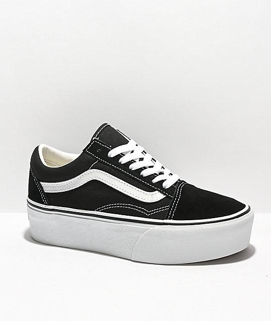 360cffabd Vans Old Skool zapatos de skate tipo grueso en blanco y negro ...