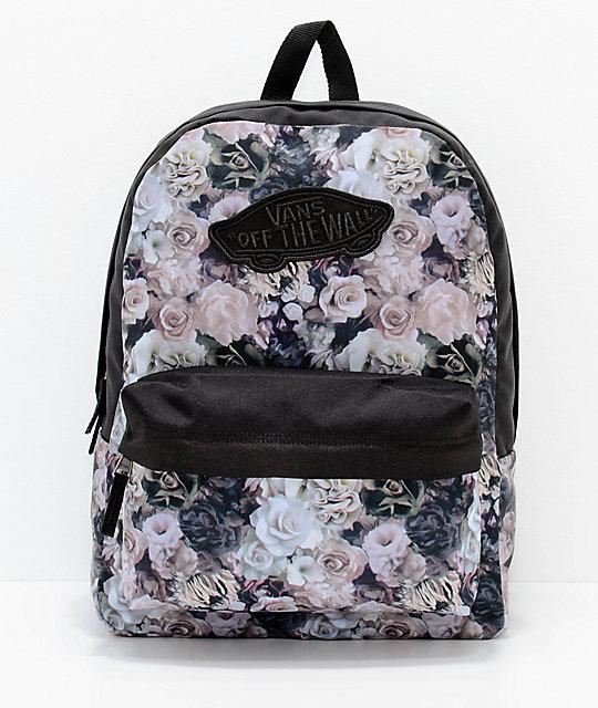 c70c5b71314 Vans Realm Floral Black 22L Backpack   Zumiez