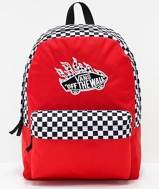 Vans Realm Racing Red   Checkerboard Flame Backpack