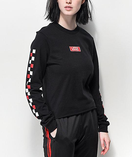 7102b13677de Vans Red & White Checkerboard Black Long Sleeve Crop T-Shirt | Zumiez