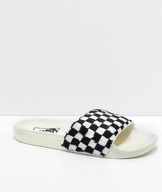 82c3dd4dbcdaa Vans Sherpa Checkerboard Slide-On Sandals | Zumiez