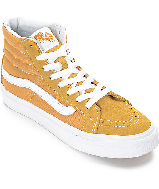 72941432f6 Vans Sk8-Hi Amber Gold Womens Skate Shoes
