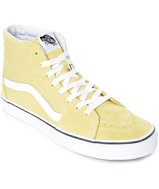 f10ca217e37 Vans Sk8-Hi Dusty City Yellow  u0026 White Skate Shoes