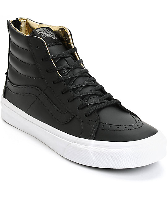 8ee5052acd70 Vans Sk8-Hi Slim Black   Gold Leather Shoes