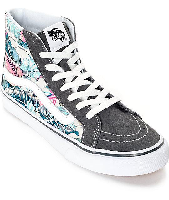 Vans Sk8 Hi Slim Tropical Grey Shoes  2f245bf4835a