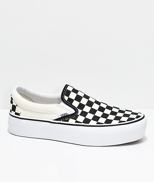 e9a055ed11e Vans Slip-On Black   White Checkered Platform Shoes