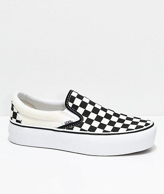 Vans Slip-On Black   White Checkered Platform Skate Shoes  4621498a5