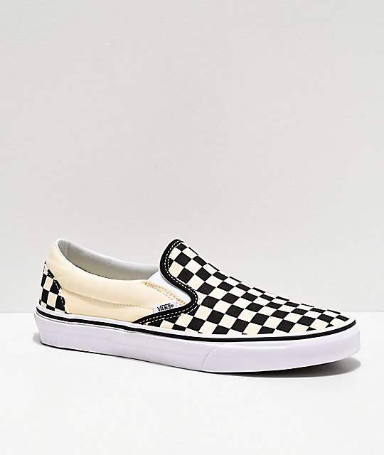 1ec8da5516ca Vans Slip-On Black & White Checkered Skate Shoes | Zumiez
