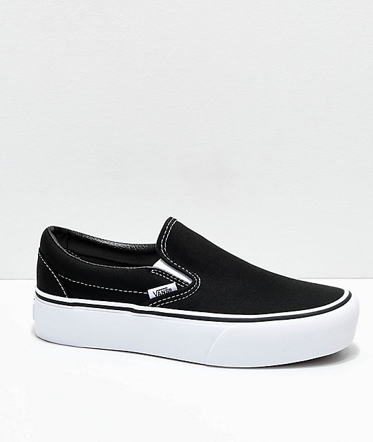 fd9a604d0a708d Vans Slip-On Black   White Platform Shoes