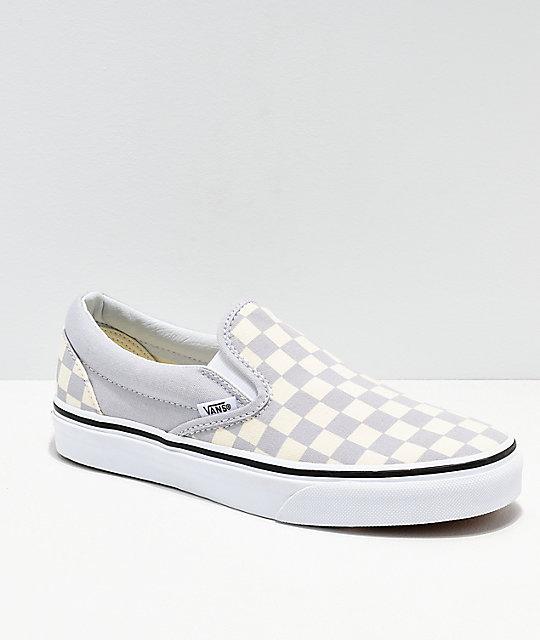 ee238d6c54ad0 Vans Slip On Checkerboard Grey, Dawn & White Shoes | Zumiez