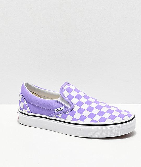 bef0afc511f1 Vans Slip-On Checkerboard Violet & White Skate Shoes | Zumiez