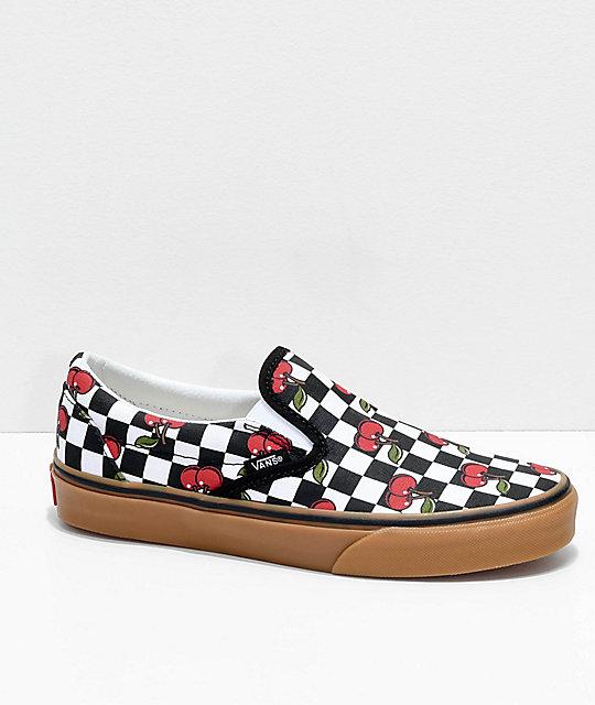 Vans Slip On Cherry Black & Gum Checkered Skate Shoes