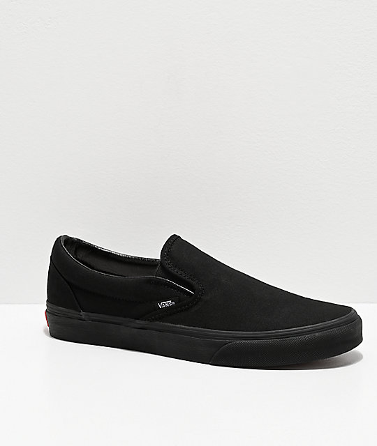 bc9ef3004c74 Vans Slip-On Monochromatic Black Skate Shoes | Zumiez